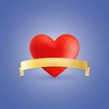 红色心脏和金黄丝带 库存图片