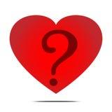 红色心脏和问题面具传染媒介 免版税库存图片