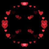 红色心脏和黑背景 库存照片