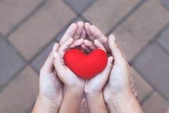 红色心脏在充满爱的儿童和母亲手上 图库摄影