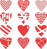 红色心脏在白色背景设置了,隔绝,例证 免版税库存图片