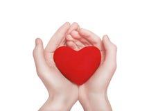 红色心脏形状在手上 情人节、慈善和爱 图库摄影