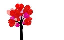 红色心脏树抽象派 免版税库存照片