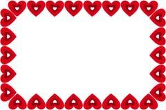 红色心脏框架在白色背景的 日s华伦泰 免版税库存照片