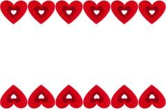 红色心脏框架在白色背景的 日s华伦泰 免版税图库摄影
