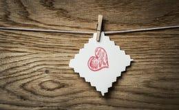 红色心脏消息情人节的卡片和图象 库存图片