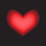 红色心脏焕发黑色背景 向量例证
