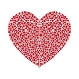 红色心脏由圆的圈子做成 也corel凹道例证向量 图库摄影