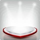 以红色心脏的形式空的架子陈列的 3d 免版税库存图片