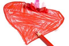 画红色心脏的手 免版税库存图片