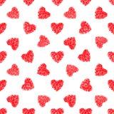 红色心脏的抽象无缝的样式 免版税库存图片