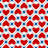 从红色心脏的无缝的纹理 库存照片