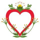 红色心脏的模板与植物生长的抽象元素的 皇族释放例证