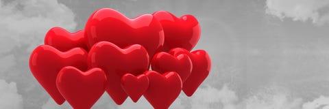 红色心脏的组成的图象在灰色天空背景迅速增加 库存例证