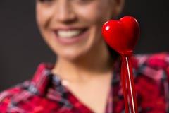 红色心脏,爱,逗人喜爱-爱概念 免版税图库摄影