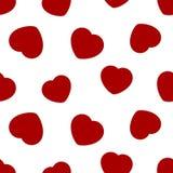 红色心脏-无缝的样式 免版税图库摄影
