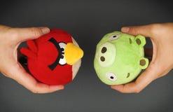 红色恼怒的鸟&坏贪心软的玩具在手上 免版税库存图片