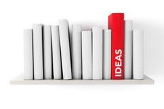 红色想法在与另一本空白的书的一个架子预定 库存图片