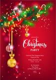红色愉快的圣诞节卡片 库存照片