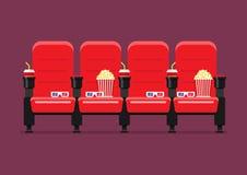红色戏院主持传染媒介例证 图库摄影
