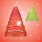 从红色或绿色丝带横幅的圣诞快乐树 图库摄影