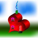 红色房子喜欢心脏 库存照片