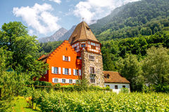 红色房子在列支敦士登 免版税库存图片