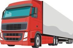 红色扁鼻子卡车 向量例证