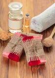 红色手工制造果子肥皂 免版税库存照片
