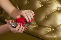 红色手指钉牢拿着有玫瑰的一条小船 免版税库存照片