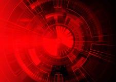红色技术背景,抽象数字式技术圈子 免版税库存照片