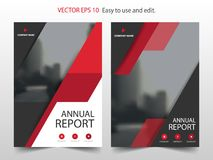 红色抽象三角小册子年终报告设计模板传染媒介 企业飞行物infographic杂志海报 抽象格式 库存例证