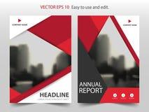 红色抽象三角小册子年终报告设计模板传染媒介 企业飞行物infographic杂志海报 抽象格式 皇族释放例证