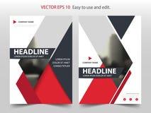 红色抽象三角小册子年终报告设计模板传染媒介 企业飞行物infographic杂志海报