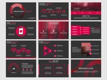 红色抽象圈子介绍模板, Infographic元素模板平的设计为年终报告小册子飞行物设置了 皇族释放例证