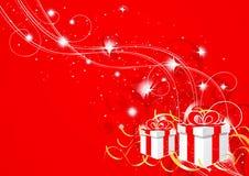 红色抽象圣诞节的礼品 免版税库存照片