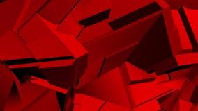 红色抽象多角形打破的形状动摇无缝的圈 3D动画 皇族释放例证