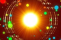 红色抽象背景、光芒和金微粒 库存照片