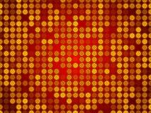 红色抽象背景、微粒圈子和星 免版税库存图片