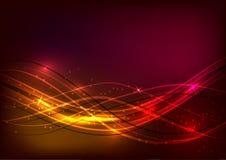 红色抽象背景与发光的波浪的 库存例证