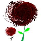 红色抽象黑色的花 免版税库存照片