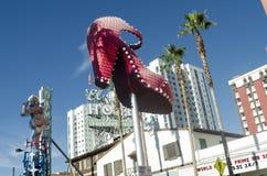 红色拖鞋标志 街市拉斯维加斯 免版税库存照片