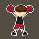 红色拳击动画片 免版税库存图片