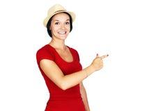 红色指向的妇女 免版税图库摄影