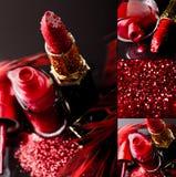 红色指甲油和唇膏 库存图片