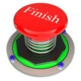 红色按钮,完成, 3d查出的概念 图库摄影