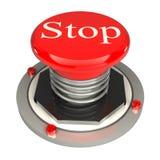 红色按钮,终止, 3d查出的概念 免版税库存图片