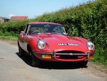 红色捷豹汽车E类型20世纪60年代 免版税图库摄影