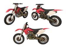红色摩托车用在白色的不同的角度 皇族释放例证