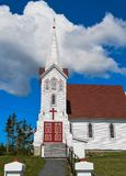 红色教会的门 免版税库存照片